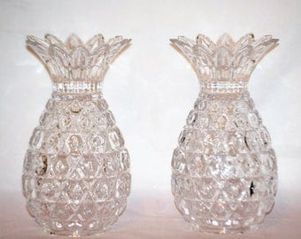 Beautiful Vintage Set Of Two Crystal Pineapple Candle Holders Home Decor Home And Living ChooseFlavor