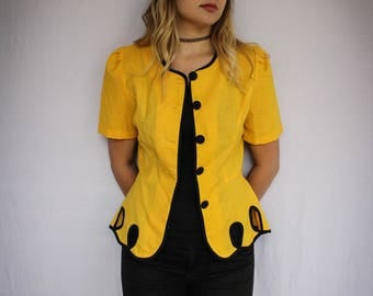 Vintage Yellow & Black Short Sleeve Jacket | Button Up Shirt | 80s