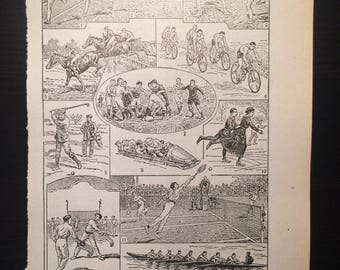 Sports - Antique French Dictionary Page - Original 1940s Illustrated Lithograph
