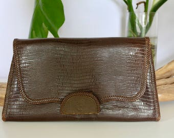 Gorgeous Vintage 50's Large Brown Reptile Clutch