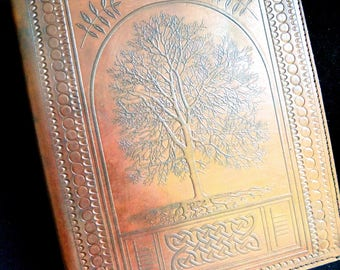 A5 Handmade Leather Ring Binder (US Notebook) - Celtic Ash Tree