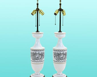 Mid-Century White Opaline Table Lamps, A Pair