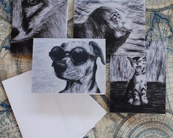 """Assorted Charcoal Notecard Set of 12 - 5.5""""x4"""""""