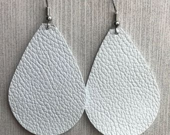 White - Leather Teardrop Earrings