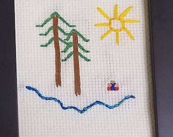 Embroidered trees and river
