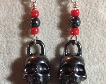 Dark pewter colored skull earrings