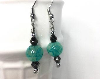 Sea Foam Earrings, Blue Green Earrings
