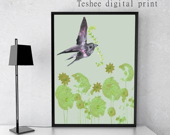 Digital print, Bird and flowers jpg, Printable art, Wall art, Home decor