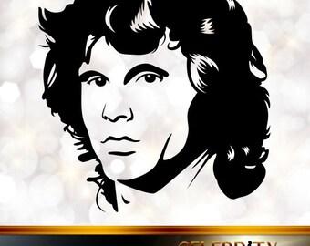 Jim Morrison Silhouette, artist silhouettes, celebrity silhouette, famous people