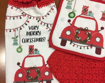 Very merry Christmas crochet kitchen towel set