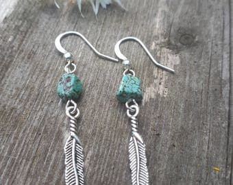 Silver Plated Turquoise Feather Earrings