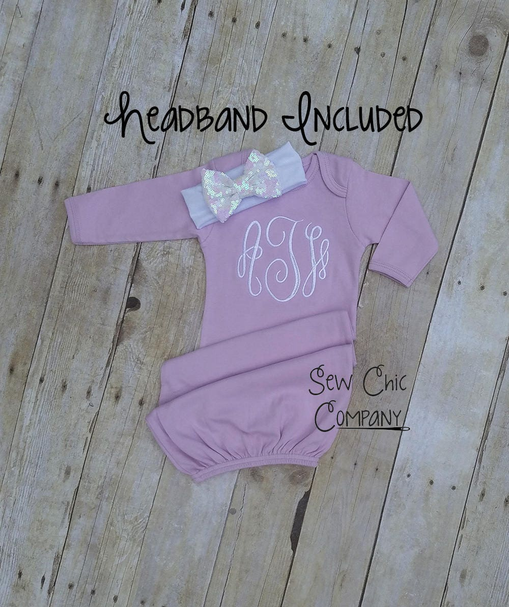 Newborn Gown, Infant Gown, Monogramed Gown, Baby Gown, Baby Girl ...