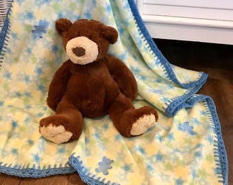 Baby blanket fleece, Blue Embroidered Bears and Blue/Green/Yellow Stars soft fleece, FREE USA shipping, baby shower gift, baby afghan