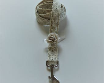 Vintage Ivory Lace Wedding Dog Leash with Detachable Flower