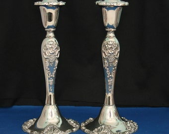 Pair of Godinger Silver Plate Candle Holders