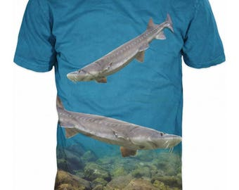 Cool Mens T-shirt 3D Sturgeons Sublimation Printed Sturgeon Fishing Hobby