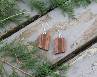 Natural Wood Jewelry Handmade Dangle Wood Earrings Lightweight Earrings Wooden Earrings Wooden Gift for Her Minimalist Gift Geometric