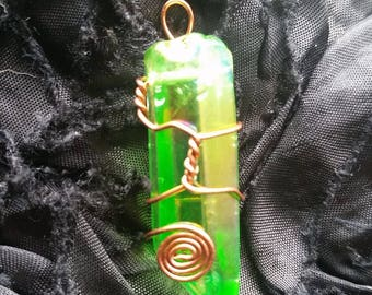Green Aura Quartz Crystal Necklace
