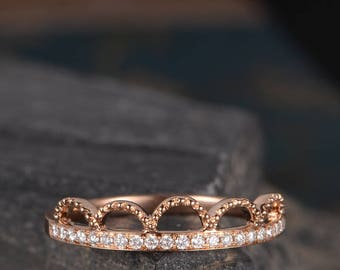 Milgrain Rose Gold Wedding Ring Unique Diamond Half Eternity Band Women Bridal Promise Ring Anniversary Gift For Her Cute Dainty Arched