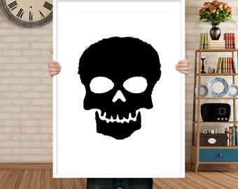 SKULL Digital Art Print, Printable, Instant Download pdf, Minimal Design, Minimalistic, Rough, Black & White Illustration