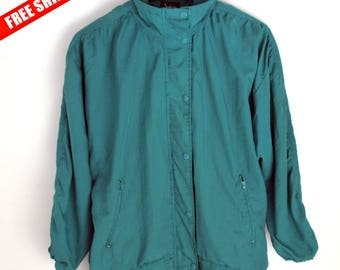 Windbreaker vintage YR women M Vintage Windbreaker Jacket women M Windbreaker 90s jacket women 90s windbreaker Green windbreaker