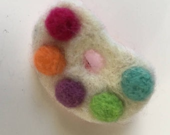 Paint Palette Lapel Pin, Needle Felted Brooch