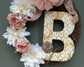 Custom letter B wreath.