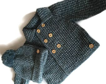 Baby Boy's hand knitted coat and bobble hat, coat and hat set, vintage style double breasted coat and matching hat in denim blue mingle