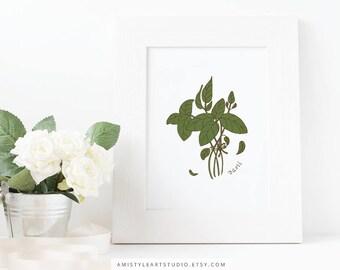 Herbs Printable Art, Basil Printable, Botanical Printable, Herb Wall Art, Kitchen Wall Art, Kitchen Decor, Kitchen Wall Decor,New House Gift