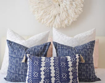 READY TO SHIP Dots Stripe Decorative Lumbar Cushion Cover Indigo Blue with tassels. Pillow cover, mud cloth inspired