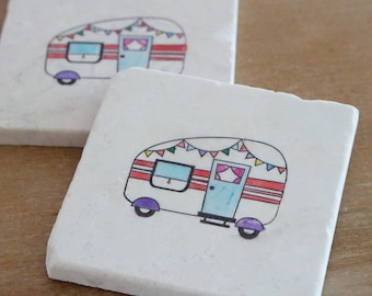 Marble Vintage Trailer Coaster// Stamped Tumbled Marble Coaster// Marble Coaster// Vintage Coaster// Watercolored Coaster// Birthda