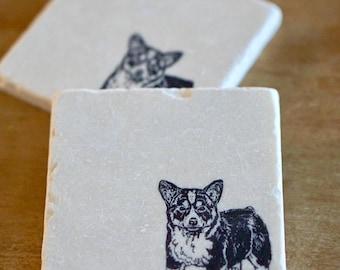 Corgi Dog Coasters// Welsh Corgi// Drink Coaster// Tumbled Marble Coasters// Coaster Set// Corgi Gift // Christmas Gift// Farmhouse Decor