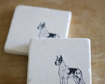 Great Dane Dog Coaster/Great Dane gift/ Drink coaster/Marble coaster/ coaster set/ tile coaster/ stone coaster/farmhouse