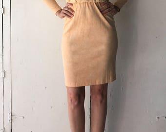 80s long sleeve turtle neck dress | vintage orange dress | womens long sleeve dress | 80s vintage dress