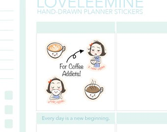 CoCo Coffee Addict, Coffee Lover, Latte, Coffee Planner Stickers