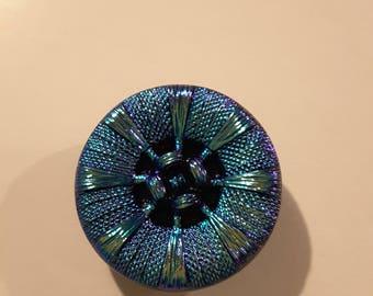 Large iridescent Czech carnival glass buttons.