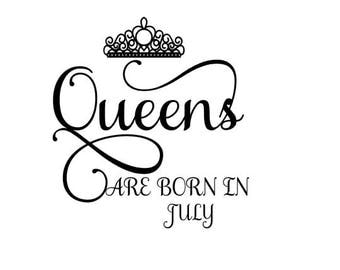 Queens are born in July SVG Crown