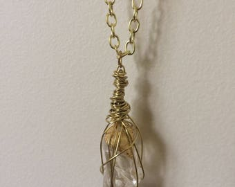 Clear Quartz & Gold Leaf Necklace