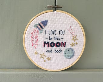 I Love You to the Moon and Back Quote Cross Stitch Pattern