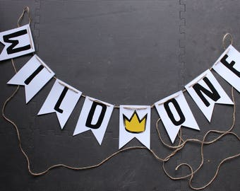 Wild Rumpus AND Wild One First Birthday Party Banners // TWO party banner downloads
