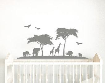 Safari Nursery Wall Decal. Wall Vinyl Sticker Nursery. Nature Wall Decal. Zoo Wall Decor. African Nursery Decor. Giraffe  Elephant Decal F58