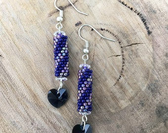 Blue & purple diagonal striped dangle earrings, bead woven with blue heart crystals and silver plated hooks