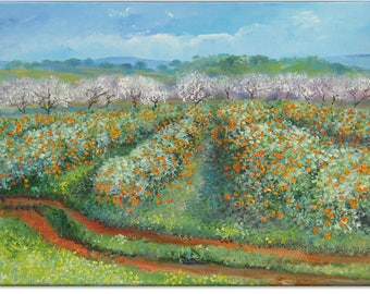 Tangerine grove, portugal landscape original painting nature art | wedding birthday gift | ready to hang 'home sweet home' or a welcome gift