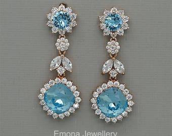 Blue Wedding Earrings, Swarovski Aquamarine Crystal Earrings, chandelier Earrings, Sky blue Bridal Earrings in rose Gold and silver
