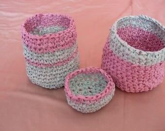 made crochet baskets