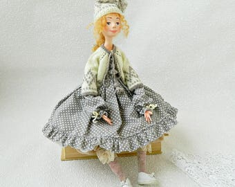 Collectible doll Boudoir doll Art Doll Valentine's day gift Blonde doll Winter doll  Interior doll Figurines sculpture Handmade doll
