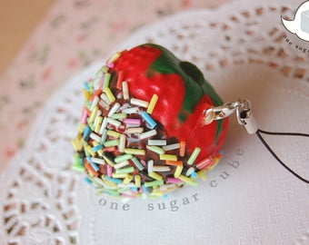 Chocolate dipped Strawberry with sprinkles Cute Squishy Charms