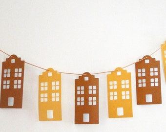 Houses in copper and gold hanging paper Garland