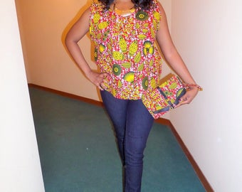 Wax (Ankara) sleeveless blouse