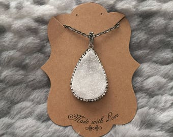 White Druzy Teardrop Necklace, White Drusy Teardrop Necklace